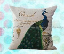 *US SELLER*vintage peacock decorative pillow case cushion cover patio cushion