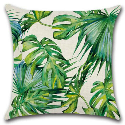 Tropische Pflanzen Leinen Kissenbezug Kissenhülle Kissen Hülle Laub Dekokissen