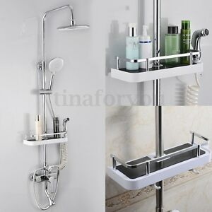 Image Is Loading Bathroom Pole Shelf Shower Storage Caddy Rack Organiser