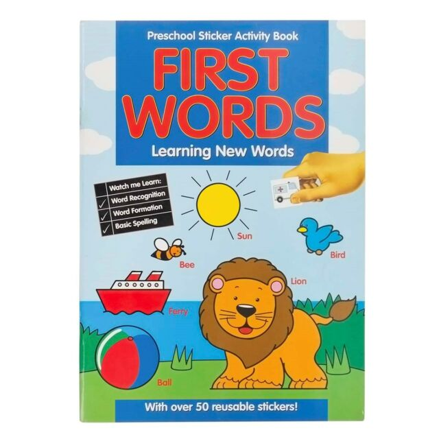 LEARN FIRST WORDS & SPELLING PRE-SCHOOL STICKER ACTIVITY COLOURING BOOK 201/PSS
