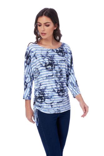 Roman Originals Women's Blue Floral Stripe Print Top Sizes 10-20