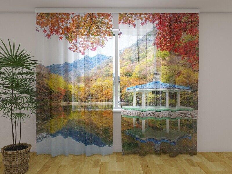 Fotogardine otoño Sur Corea lago Park cortina impresión fotográfica en Gardine medida