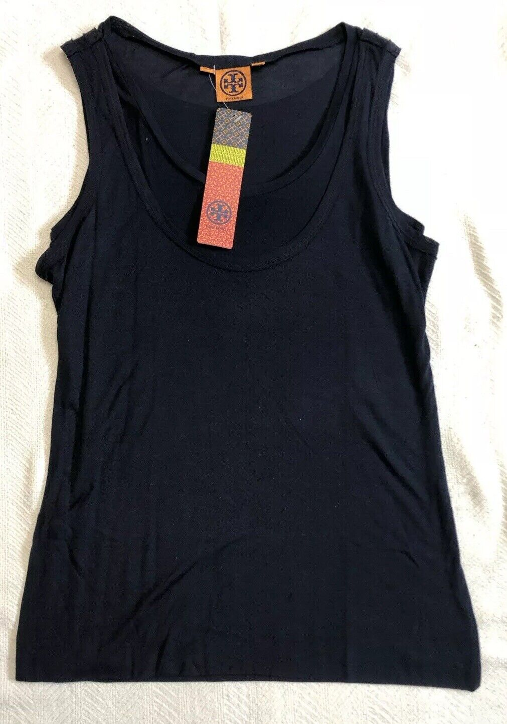 Tory Burch Double Layer Tank Top With Raw Edges In Navy Blau Sz S    NWT
