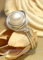 LOVELY NATURAL FRESHWATER PEARL 925 SILVER RING - SIZE Q - 8  All sizes