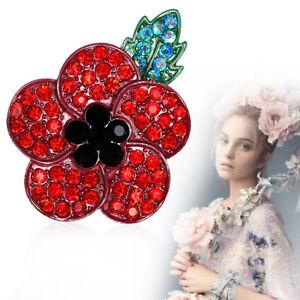 Poppy-Red-Flower-Enamel-Crystal-Pins-Poppies-Brooch-Enamel-Badge-Brooches-Badges