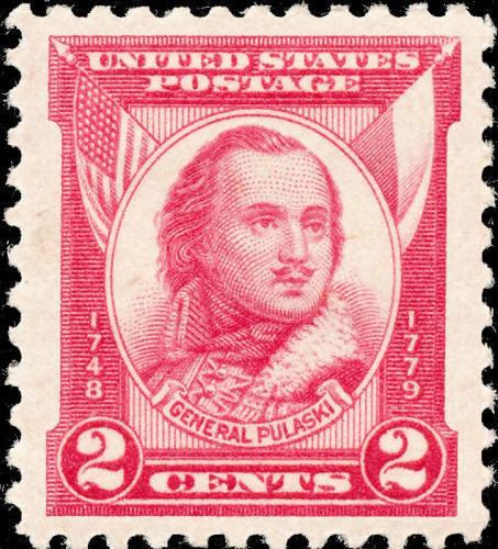 1931 2c General Casimir Pulaski, Carmine Rose Scott 690