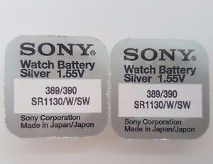 Sony-389-390-389-390-pile-SR1130W-SW-Oxyde-D-039-argent-Montre-Piles-1-55-V-X-2