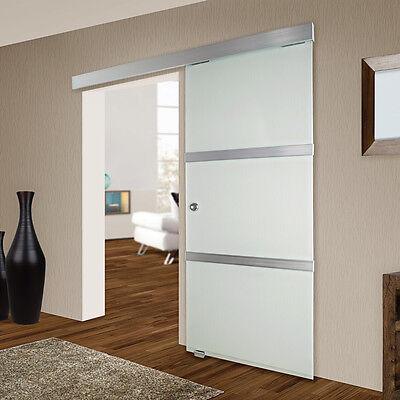 Sliding glass door interior internal aluminium stripes 775x2050mm satined