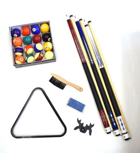 Billiard Accessory Kit Cues Ball Triangle Rack Brush Chalk Bridge Pool Table