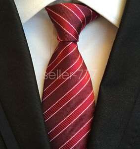 Fashion-Classic-Mens-Red-Stripe-JACQUARD-WOVEN-Silk-Tie-Necktie