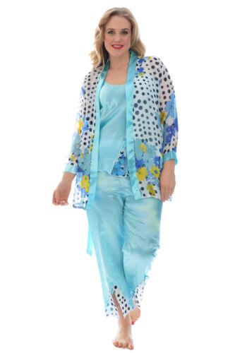 Womens Satin Ladies Gown Pyjama Slip Floral Polka Print Nightsuit Nouvelle
