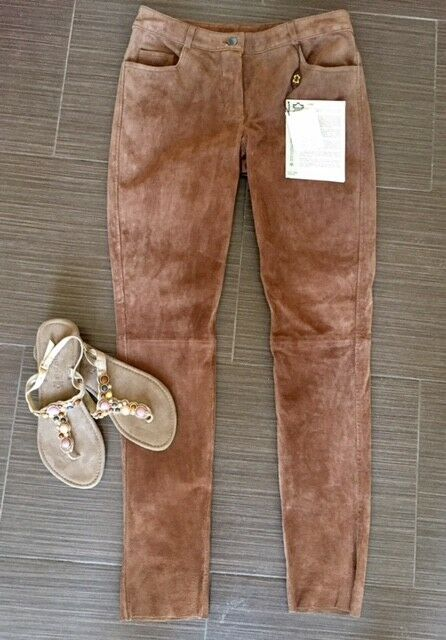 Leather Pants Trousers Leather velourlederhose Davison Cognac Größe 34 NEW
