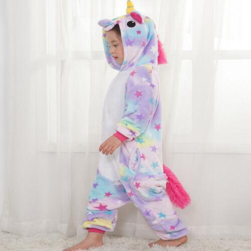 Pajamas Rainbow Unicorn Animal Kids Onesie10 Cosplay Costume Sleepwear Festival^