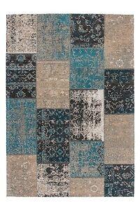 MOQUETTE-de-Qualite-Salon-Mekon-fait-main-patchwork-bleu-brun-gris