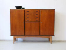 60er TEAK HIGHBOARD KOMMODE DANISH DESIGN 60s CABINET CREDENZA SIDEBOARD