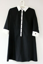 Rare London Black White Monochrome Gothic Wednesday Addams Office Work Dress