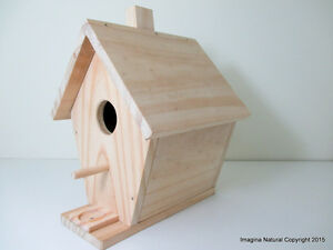 Wooden Natural handmade birdhouse and Nestbox - Un painted - Non Toxic - Bird Bo