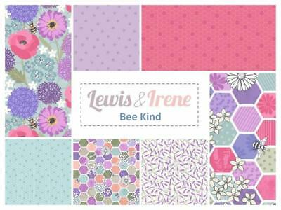 100/% Cotton Fat Quarters Bee Kind by Lewis /& Irene Pink /& Purple Hexagons