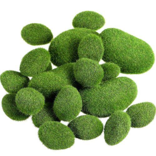20 Piezas 2 Tamaños de Moss Artificial Rocas Artificiales Faux Green Mos T8S3 2X