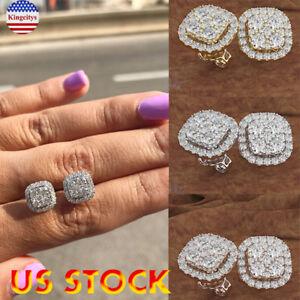 New-Surgical-Stainless-Steel-Stud-Earrings-14K-Zircon-Round-Men-Women-Jewelry