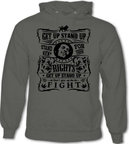 Get Up Stand Up Mens Bob Marley Inspired Reggae Hoodie Jamaica Spliff Weed