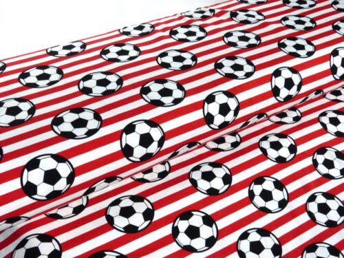 Jersey Öko tex Stoff  Fußball rot weiß Baumwolljersey Meterware  24170