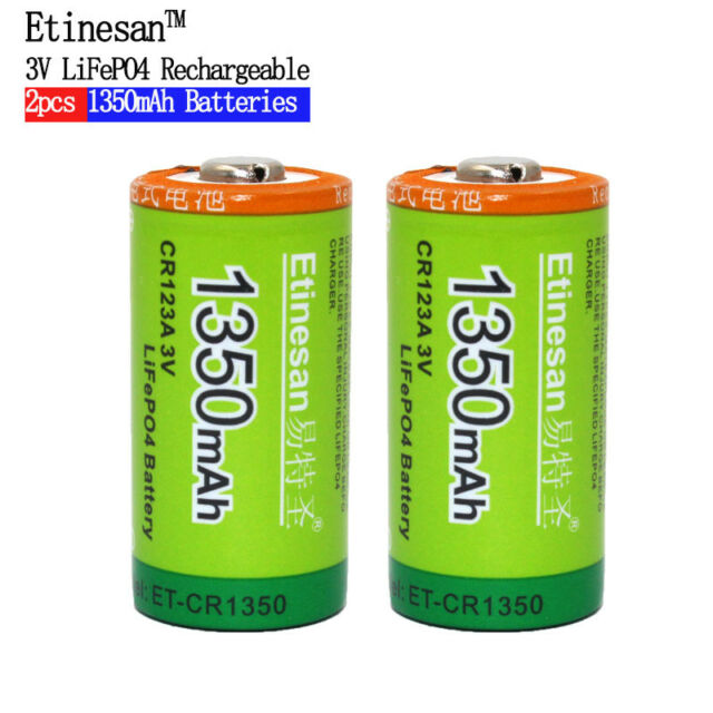 ETINESAN 3V 1350mAh CR123A LiFePo4 Li-ion Rechargeable Battery For Flashlight