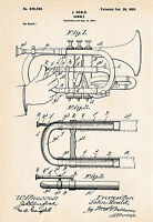 1899 Cornet Art Gifts Patent Print Drawing Gift Ideas For Cornet Players Brass