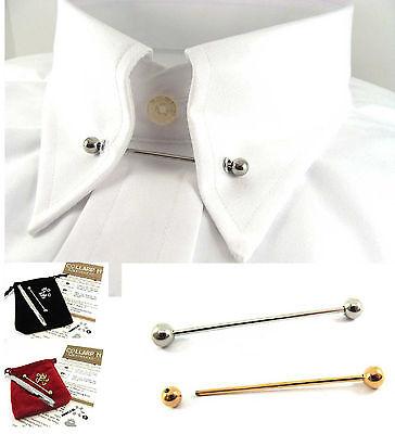 Tono Oro O Argento Camicia Collare Tie Pin/bar +10 Occhielli 46mm Barbell Ball Ended-mostra Il Titolo Originale Originale Al 100%