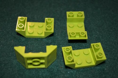 4 ~ 2x4 Lime Green Tapered Inverted Hull Bricks  ~ Lego  ~ NEW
