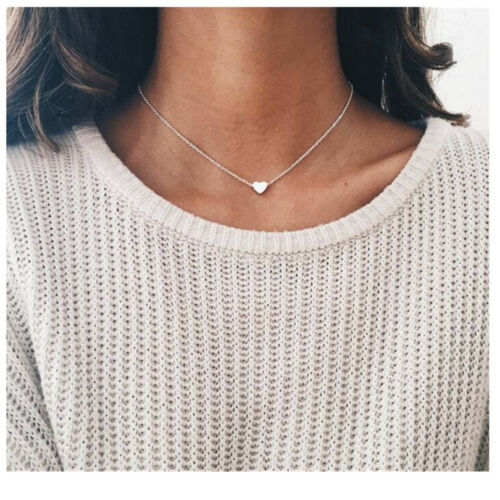 Little Heart Necklace Silver or Gold Alloy Necklace Chain Pendant Valentine/'s UK
