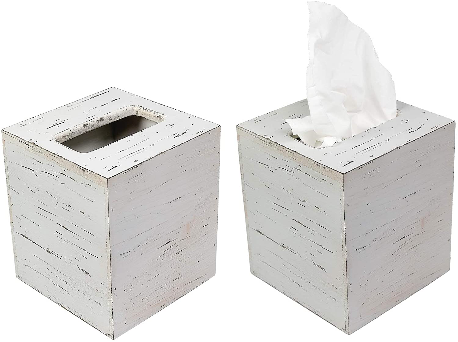EXCELLO GLOBAL PRODUCTS Rustic White Barnwood Tissue Box Cover: Tissue Cube Box