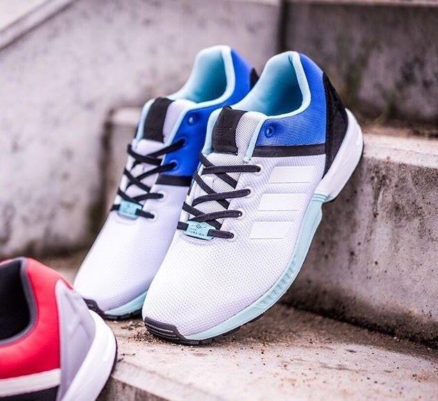 Adidas ZX FLUX SPLIT FOOTWEAR WHITE   CLEAR AQUA Torsion Running AF6356 Sz 9