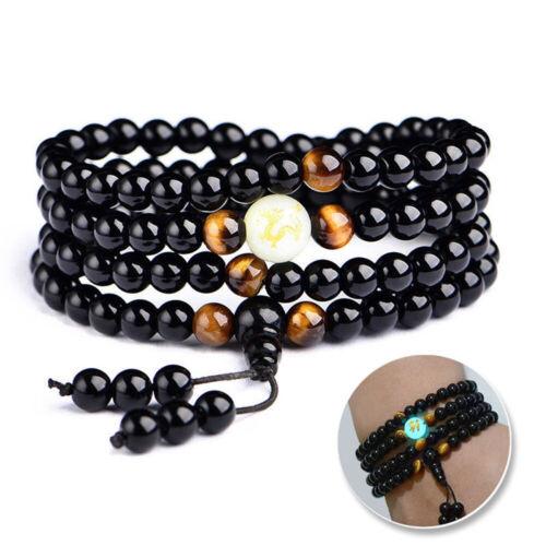 Dragon Luminous Black Obsidian Natural Stone Bangles /& Bracelets Buddha Beads