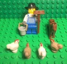 Lego New City Boy Farmer Mini Figure With Bucket,broom,brown Dog,x4 Chicken Lot