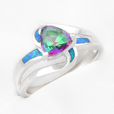 Christmas 925 Sterling Silver Rainbow Mystic Topaz Fire Blue Opal Ring Size 7