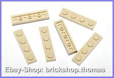 Lego 6 x Platte (1 x 4) - 3710 beige Platten - Tan Plate - NEU / NEW