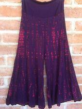 S M L XL Wide Leg Palazzo Gaucho Pants Skirt Tie Dye Spandex Boho Hippie Purple