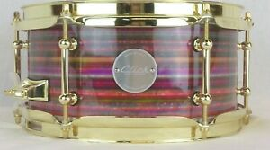 Click-Drums-Custom-5x10-Candy-Strata-10ply-Maple-Snare-Drum-Brass-Tube-Lugs