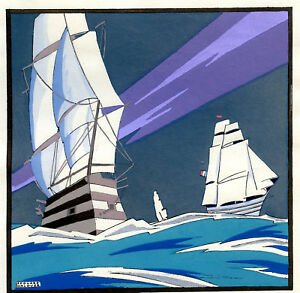 1930s-French-Pochoir-Print-Edouard-Halouze-Artdeco-Sailships-Seascape