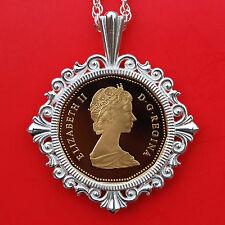1987 Canada Elizabeth II Dollar Gem BU Proof Coin 925 Sterling Silver Necklsce
