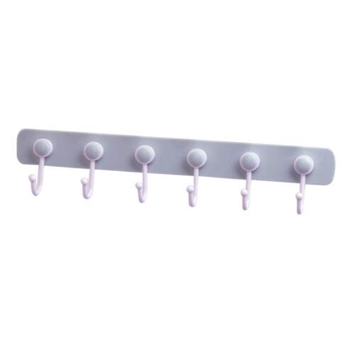 2 un Auto Adhesivo Colgador de pared ganchos cocina baño toalla Bar 6-Gancho Riel