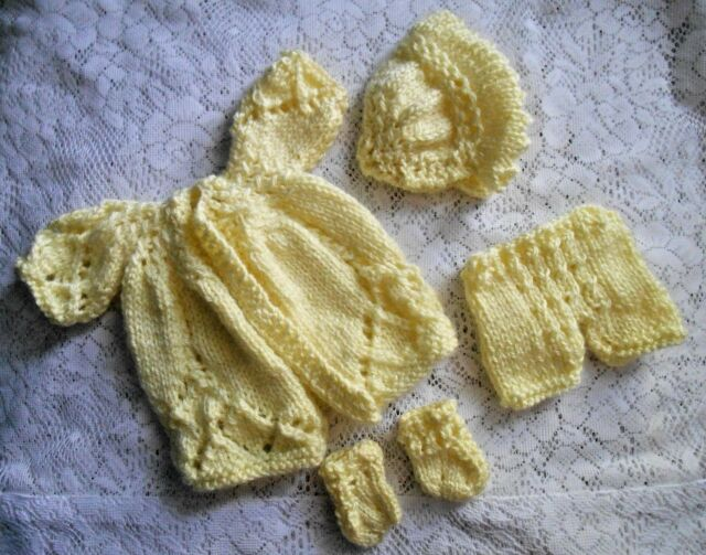 """Doll Clothes Yellow Matinee Set Fits 12"""" Corolle, Am.Charac.11"""" 12"""" Tiny Tears"""