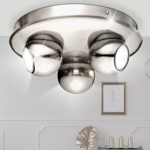 Rondell Decken Lampe Wohn Schlaf Zimmer Leuchte silber Strahler Spots schwenkbar
