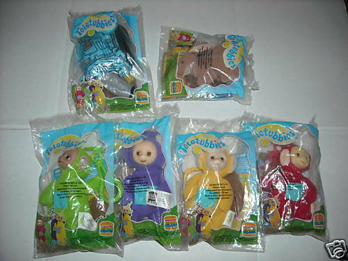TELLETUBBIES CLIP-ONS BURGER KING SET OF 6 NEW-NR 1999