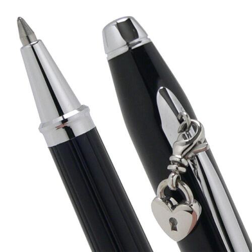 NEW CROSS SENTIMENT BLACK LACQUER ROLLERBALL CHARM PEN WITH CHROME APPOINTMENTS