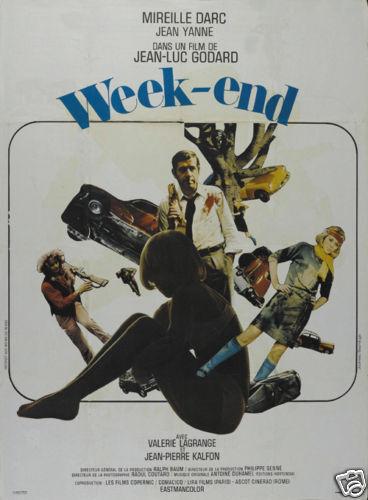 Week end Jean Luc Godard vintage movie poster print