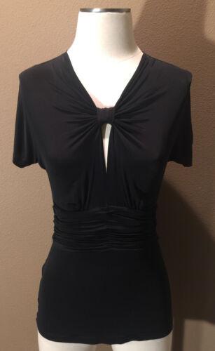 Bcbgmaxazria Size Small Black Silky Jersey Top Ruc