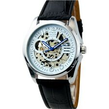 Charming Hollow Out Unique Style Leather Strap Mechanical Watch
