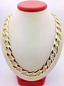 Men-039-s-10k-Yellow-Gold-BIG-Cuban-Link-Chain-Necklace-Light-Weight-20-034-13mm-43-44g